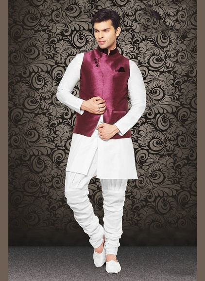 Ravish Look Wine Color Imported Mens Nehru Jacket