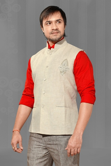 Traditional Beige Color Nehru Jacket