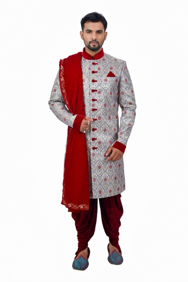 Multi Zaribrocadesilk Unique Design Indowestern Sherwani