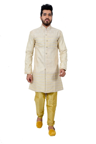 Cream Brocadesilk Indowestern Sherwani