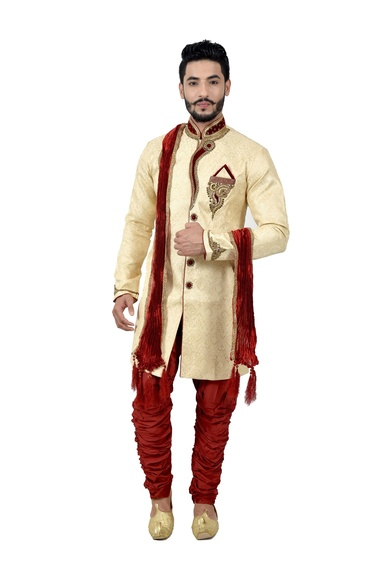 Cream Zaribrocadesilk Unique Indowestern Sherwani