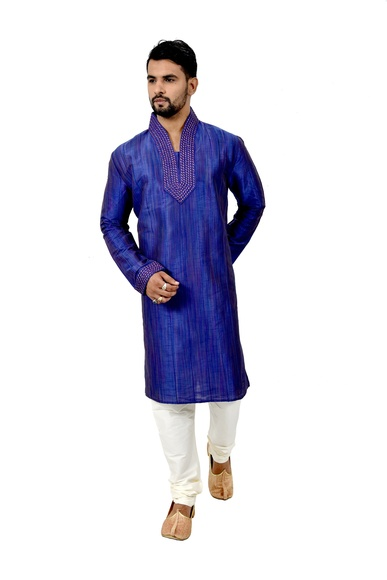 Blue Ghicchasilk Wedding Kurta Pajama