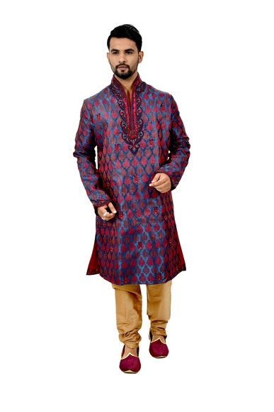 Multi Brocadesilk Delicious Wedding Kurta Pajama