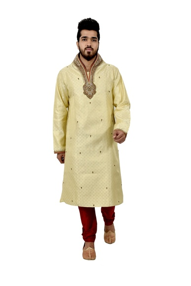 Lemonchiffon Brocadesilk Wedding Kurta Pajama