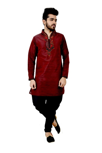 Darkmaroon Artsilk Wedding Kurta Pajama