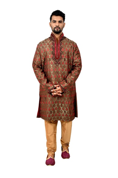 Multi Brocadesilk Online Wedding Kurta Pajama