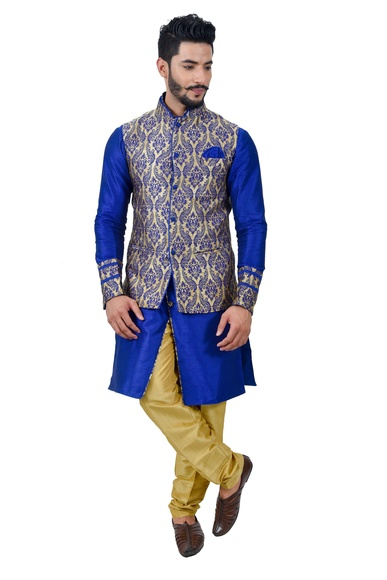 Monoblue Kurtasetwith Multi Jacket