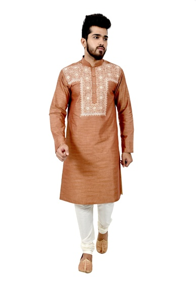 Lightbrown Cottansilk Kurta Pyjama