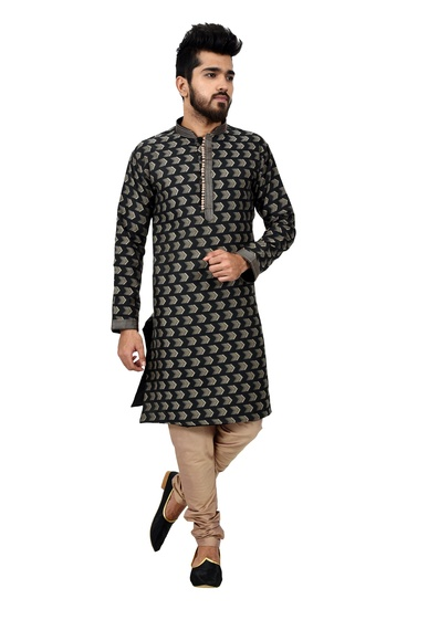 Lightbrown Cottansilk Kurta Pajama