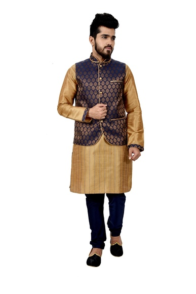 Artsilk Kurtasetwith Brocadesilk Jacket
