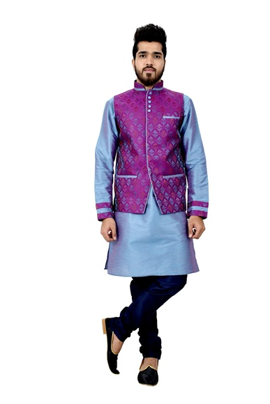 Littleboyblue Kurtasetwith Neonpurple Jacket