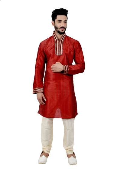 Maroon Artsilk Wedding Kurta Pajama
