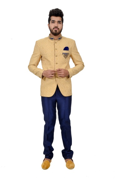Golden Zari Brocade Silk Nehru Suit