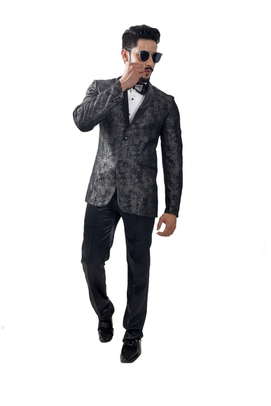 Online Italian Fabric Black Suit