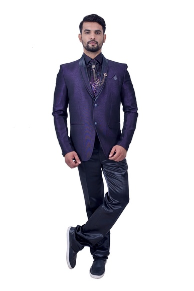 Purple And Black Italian Fabric Suit