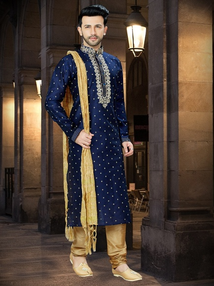 Royal Navy Blue Kurta For Men