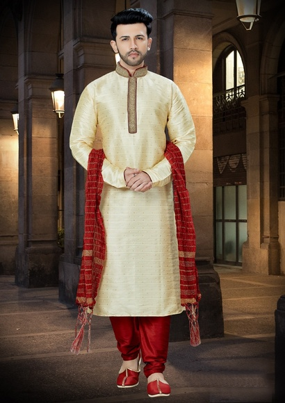 Online Chudidar Golden Kurta Payjama For Men