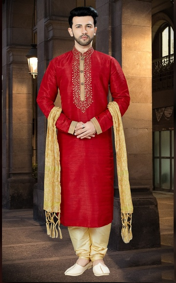 Royal Elegant Look Red Color Kurta Payjama For Men
