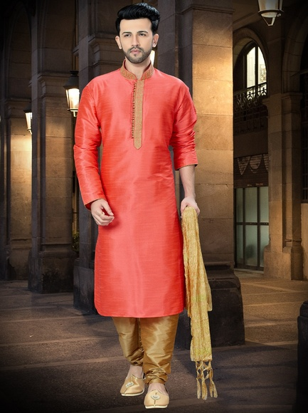 Online Stylish Look Peach Kurta Payjama
