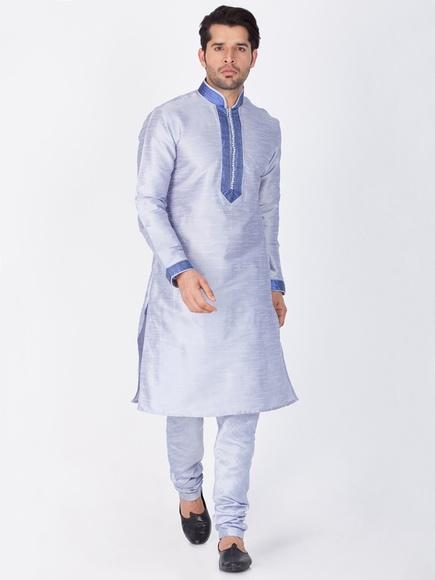Light Blue Festive Kurta Payjama For Men