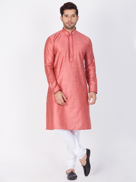 Pink And White Kurta Payjama For Men