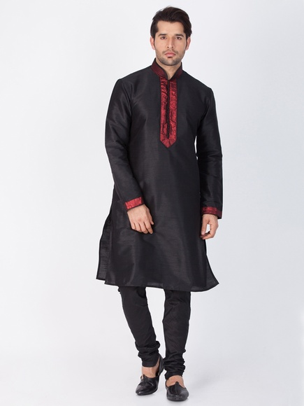 Online Black Kurta Payjama For Men