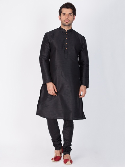 Online Wedding Collection Black Kurta Payjama For Men