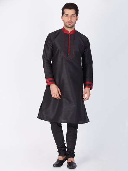 Traditional Look Black Online Kurta Payjama For Men