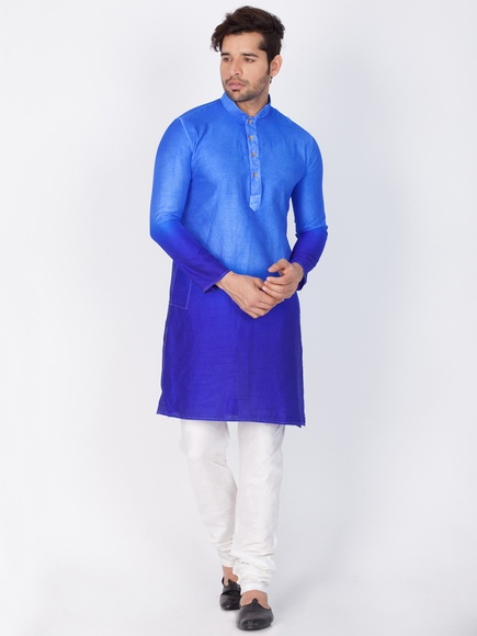 Online Wedding Blue Color Kurta Payjama For Men