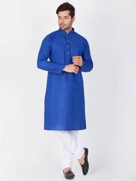 Men Royal Blue Kurta Payjama