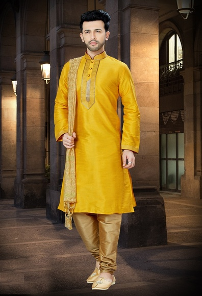 Chudidar Yellow Kurta For Men Online
