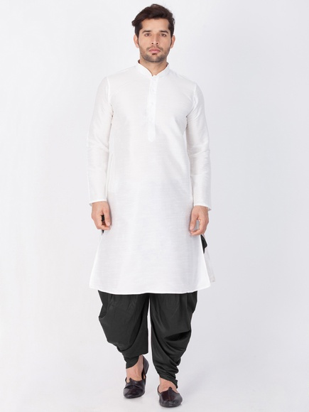 Elegant Look White And Black Cotton Kurta Dhoti Online