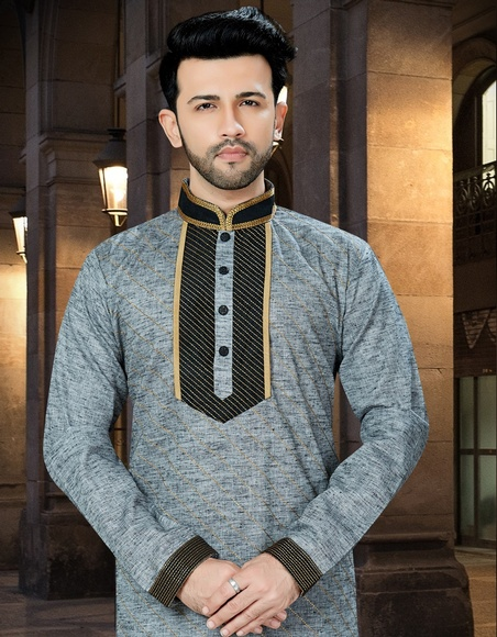 Extra Ordinary Look Black And Grey Khadi Kurta