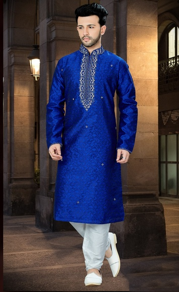 Indian Ethnic Royal Blue Kurta Payjama For Men