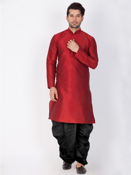 Mens Maroon Cotton Kurta Dhoti