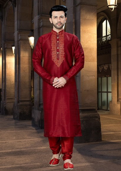 Online Crazy Look Maroon Kurta Payjama For Men