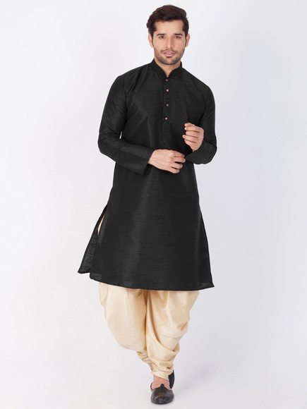 Online Decent Look Black Cotton Kurta For Men