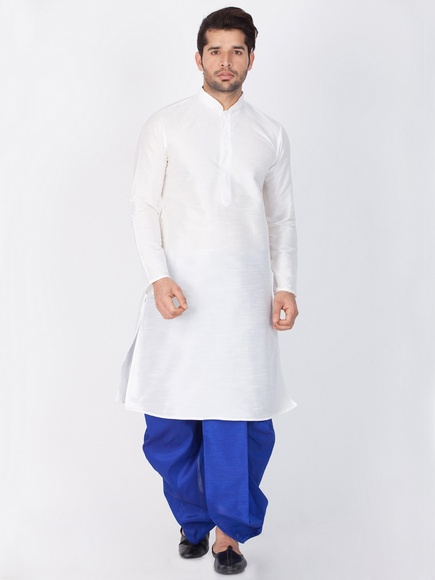 Online Plain White Kurta Dhoti For Men