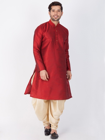 Online Readymade Maroon Indian Kurta Dhoti