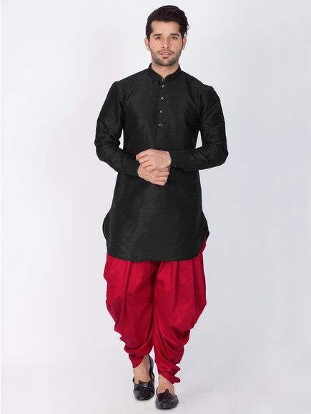 Online Readymade Plain Kurta Dhoti For Men