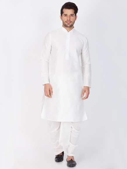 Online Readymade White Cotton Kurta Dhoti