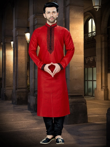 Online Red Embroidered Kurta For Party