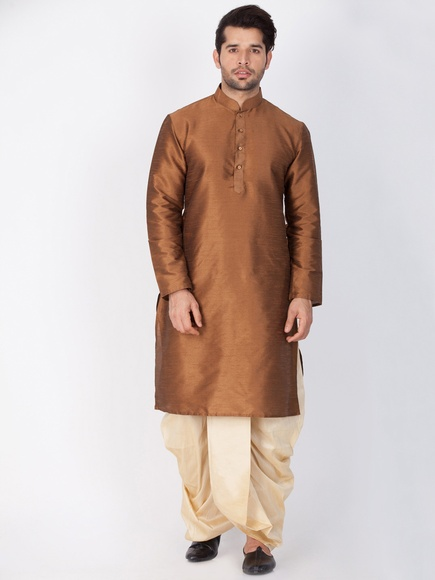 Online Traditional Look Brown Kurta For Men