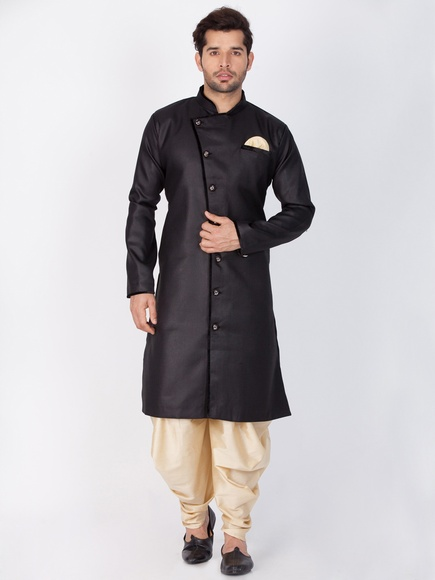 Plain Cotton Kurta Online In Black