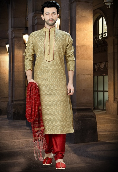 Rich Look Beige Kurta For Men Online