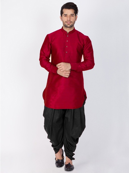 Royal Look Maroon Kurta Dhoti For Men