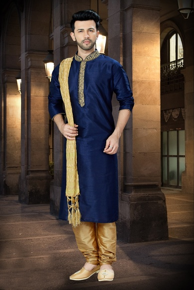 Traditional Navy Blue Kurta For Men