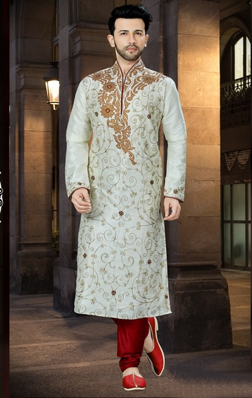 Traditional Wear Lemon Kurta For Men Online