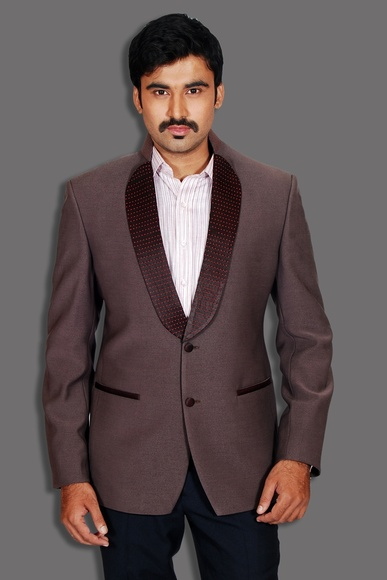 Shawl Lapel Style Wine Colored Blazer BL 5018