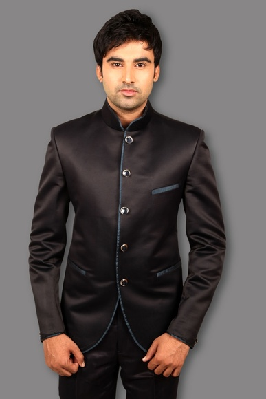 Apple Cut Navy Blue Jodhpuri Suit BL3052